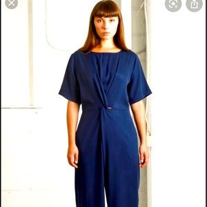 Native Youth Navy twist front wide leg jumpsuit